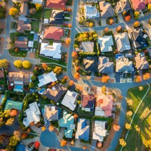 Aerial view of Australian suburbs