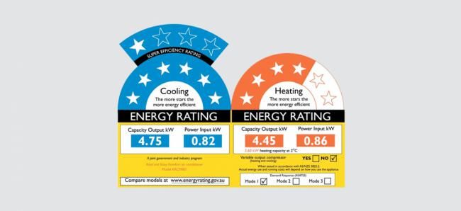 energy rating labels for air conditioners showing both the cooling and heating star ratings