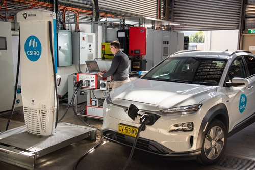 Electric car being recharged and tested in CSIRO lab