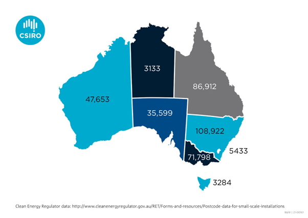 An infographic of Australia showing where solar PV installations are occurring.